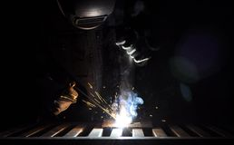 Manual Metal Arc. Manual arc welding with an electrode Royalty Free Stock Images