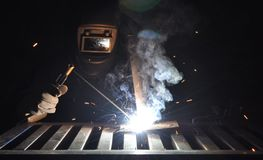 Manual Metal Arc. Manual arc welding with an electrode Royalty Free Stock Photo