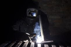 Manual Metal Arc. Manual arc welding with an electrode Stock Image