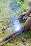 Manual metal arc welding Royalty Free Stock Image