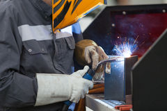 Manual metal welding Stock Photo