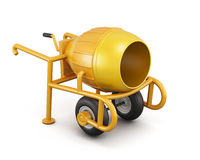 Manual mortar mixer isolated on white background. 3d rendering Stock Photography
