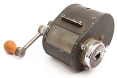 Manual pencil sharpener of metal Stock Photography