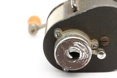 Manual pencil sharpener of metal. Closeup of Old manual pencil sharpener of metal Royalty Free Stock Image