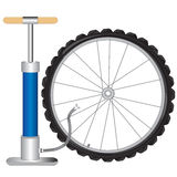 Manual pump and wheel Royalty Free Stock Photo