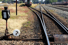 Manual railroad switch. In junction thailand royalty free stock image