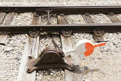 Manual railroad switch Royalty Free Stock Photography