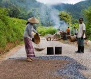 Manual road construction work in Burma Stock Image
