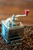 Manual Rotating Roasted Coffee Grinder royalty free stock photo