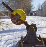 Manual rusty railroad switch for old freight train. Royalty Free Stock Photo