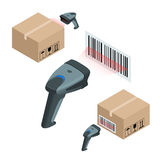 The manual scanner of bar codes. Flat 3d vector isometric illustration. Stock Photos