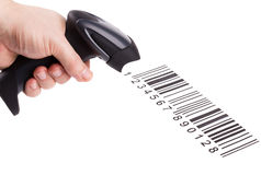 The manual scanner of bar codes in man hand. Bar code reader (scanner) in man hand isolated on white background royalty free stock photo