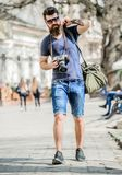 Manual settings. Photographer with beard and mustache. Tourist shooting photos. Content creator. Man bearded hipster. Photographer. Old but still good royalty free stock photo