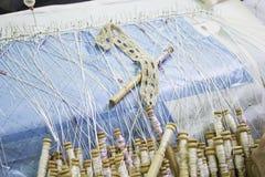 Manual sewing bobbin Stock Photo