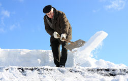 Manual snow removal Royalty Free Stock Images