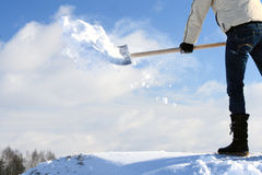Manual snow removing Stock Image