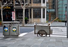 Manual street cleaning equipment on road Stock Images