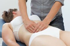 Manual therapy of internal organs. In intestinal dysfunction royalty free stock images