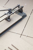 Manual tilecutter for cutting of ceramic granite Royalty Free Stock Photography