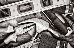 Manual tools in black and white Royalty Free Stock Photo
