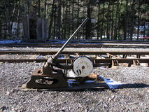 Manual Track Switch at Canfranc Royalty Free Stock Photo