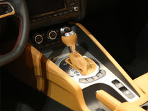 Manual Transmission,Super Sport Car Interior Stock Image
