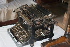 Manual typewriter. Hand old typewriter on a desk with a keyboard royalty free stock image