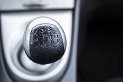 Manual used gear shift car cockpit stock image