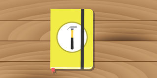 Manual user guide book yellow hammer icon flat Royalty Free Stock Photos