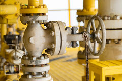 Manual valve in oil and gas industry, old valve and many rust present on the valve, Equipment for control production process Stock Photography