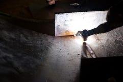 Manual welding of tank Stock Photos