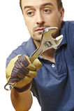 Manual worker closeup on white royalty free stock image
