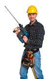 Manual worker with drill. Isolated manual worker with drill Stock Image