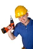 Manual worker with  drill. Isolated manual worker with  red drill Stock Photos