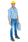 Manual worker with hammer and toolbox. Full length portrait of manual worker with hammer and toolbox on white background Royalty Free Stock Photos