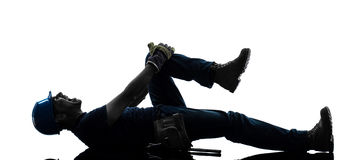 Manual worker man painful accident silhouette Royalty Free Stock Photography
