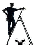 Manual worker man silhouette royalty free stock photography