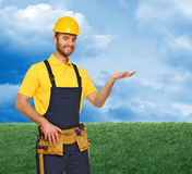 Manual worker and natural background Royalty Free Stock Photos
