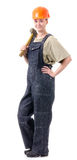 Manual worker in overalls with a hammer Royalty Free Stock Photo