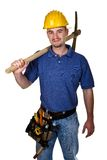 Manual worker with pickax. Isolated young manual worker with pickax Stock Photography