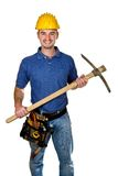 Manual worker with pickax background. Isolated young manual worker with pickax Stock Photo