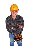 Manual worker portrait. Isolated image of young manual worker Royalty Free Stock Images