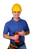 Manual worker with red drill. Isolated young caucasian man tool with red drill Royalty Free Stock Images