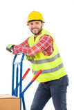 Manual worker in reflective clothes Royalty Free Stock Photos