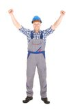 Manual Worker Screaming With Hands Raised Royalty Free Stock Photography