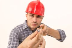 Manual worker with screwdriver Royalty Free Stock Images