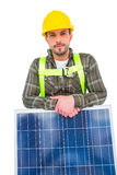 Manual worker with solar panel Royalty Free Stock Photo