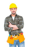 Manual worker with tool belt. On white background Royalty Free Stock Images