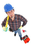 Manual worker view from above. Caucasian young manual worker view from above isolated on white stock photos