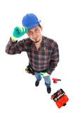 Manual worker view from above. Smiling caucasian young manual worker view from above isolated on white stock image